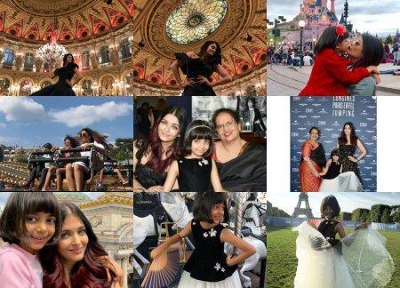 Айшвария Рай Баччан с дочкой в Париже